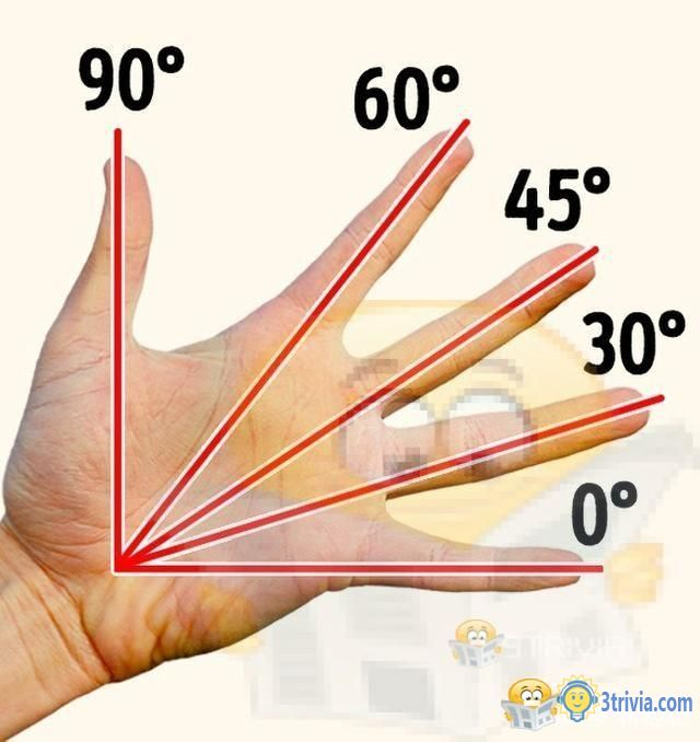 You can know the degree of an angle by hand only.