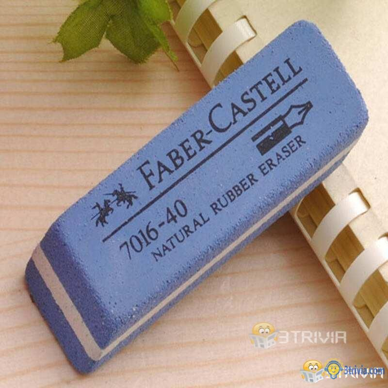 What is the role of the blue part of the eraser?